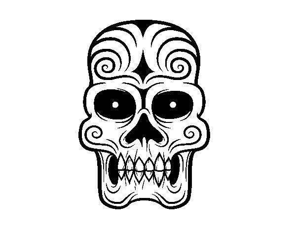 Desenho De Caveira Asteca Para Colorir