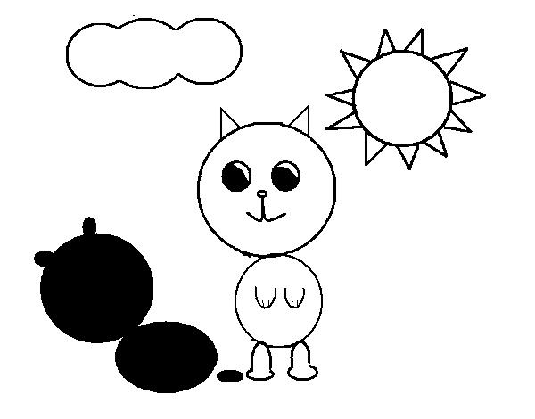 Desenho de Gatinho e sua sombra para Colorir - Colorir.com