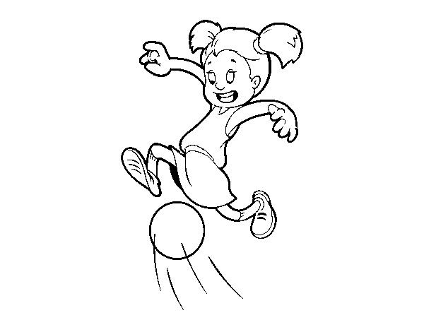 desenho de menina a jogar futebol para colorir colorir com