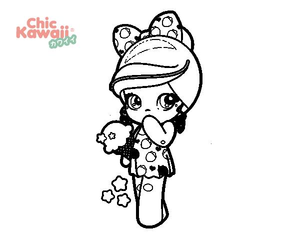 Desenho De Menina Kawaii Com Sorvete Para Colorir Colorircom