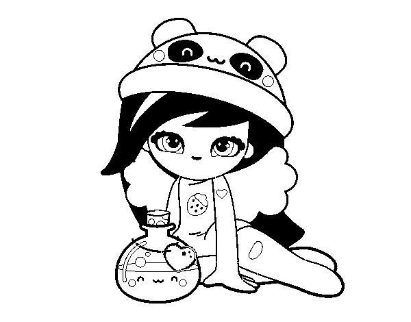 desenho de menina kawaii para colorir colorir com