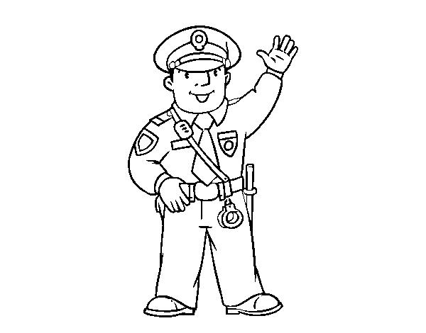Desenho De Um Policia Para Colorir Colorir Com