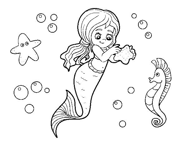 Desenho De Uma Bela Sereia Para Colorir Colorir Com